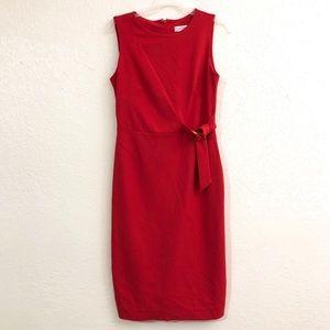 Calvin Klein Red Sheath Dress Size 4